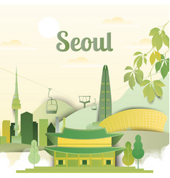 famous places in seoul south korea vector image