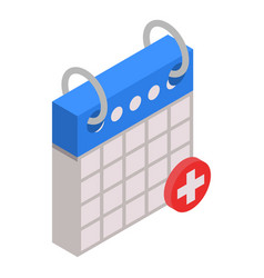 first aid calendar date icon isometric style vector image