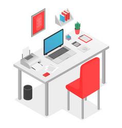 flat 3d isometric workspace concept with laptop on vector image
