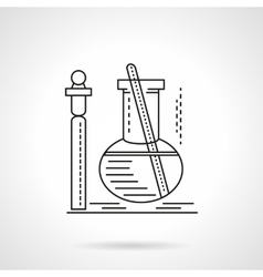 Flat black line laboratory test icn vector