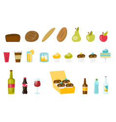 food and drinks cartoon set vector image