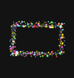 Frame in a frame of bright colored lights vector