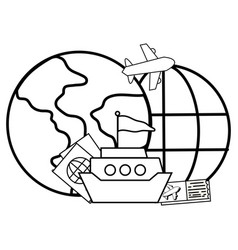 globe with boat vector image
