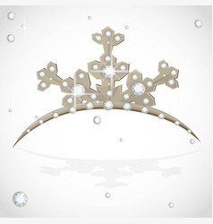 Golden crown tiara snowflake shaped for christmas vector