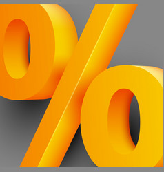 golden percent sign on gray background vector image