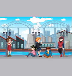Group of bad teenagers scene vector