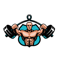 gym bodybuilding sport logo or label vector image