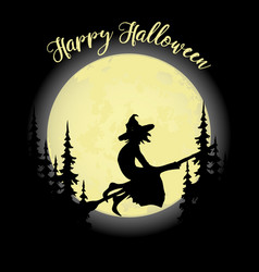 halloween party witch on a broom forest and full vector image