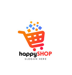 Happy shopping logo design template shopping cart vector