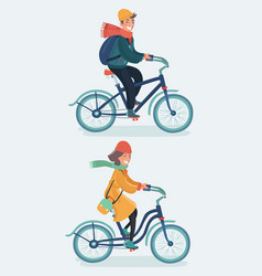 Hipster girl and boy riding bicycles vector