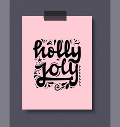 holly jolly christmas lettering and calligraphy vector image