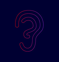 human ear sign line icon with gradient vector image