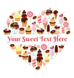I Love Sweets heart shaped design vector image