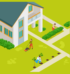 isometric rural house and gardeners concept vector image