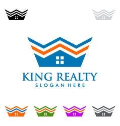 King estate Real estate logo design vector image