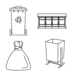 Line art black and white trash collection vector