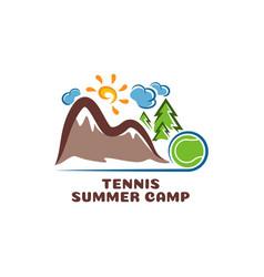 logo tennis summar camp fun cartoon vector image