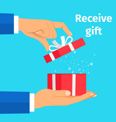 Man receive present vector