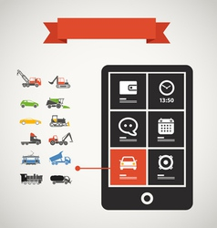 Modern mobile phone with transport silhouettes vector