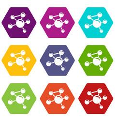 Molecule molecular icons set 9 vector