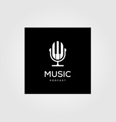 music podcast radio logo icon design vector image