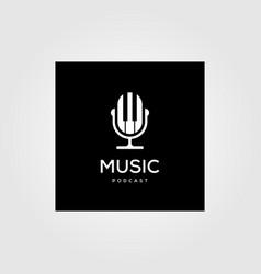 Music podcast radio logo icon design vector