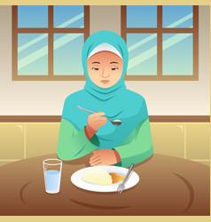 Muslim woman eating breakfast at home vector