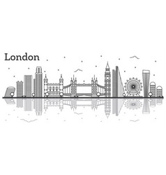 Outline london england city skyline with modern vector