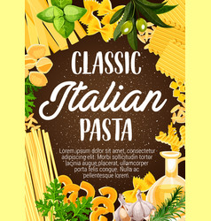 Pasta frame with italian macaroni and spaghetti vector