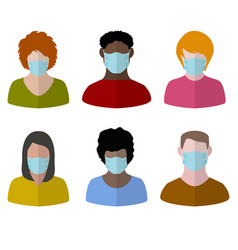 people in medical masks set vector image
