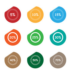 Percent sale tear sticker label set vector