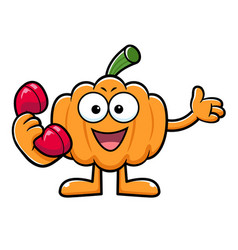 Pumpkin character is holding a telephone vector