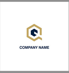 Q initial polygon business logo vector
