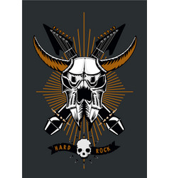 Rock music poster with bull skull microphone and vector