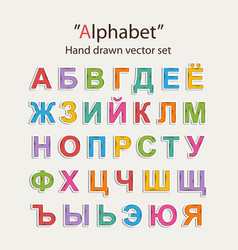 russian alphabet hand draw doodle vector image