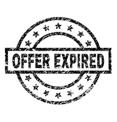 Scratched textured offer expired stamp seal vector