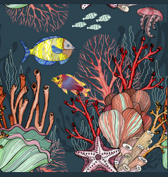 Seamless pattern with nautical sea treasure marine vector
