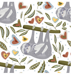 Seamless pattern with sloths in flat style vector