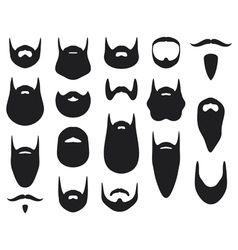 Set beard silhouettes vector