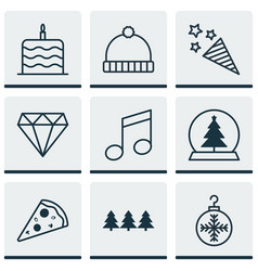 Set of 9 celebration icons includes tree toy vector