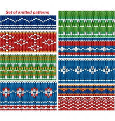 Set of 9 knitted ornamental seamless patterns vector image