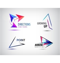 set of arrow logos pointer icons abstract vector image