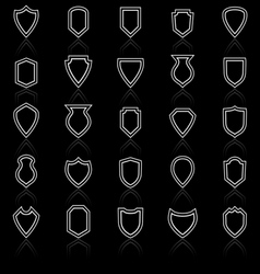 Shield line icons with reflect on black vector
