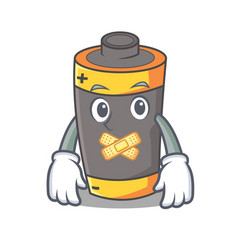 Silent battery mascot cartoon style vector
