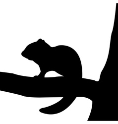 Silhouette of chipmunk on the tree vector