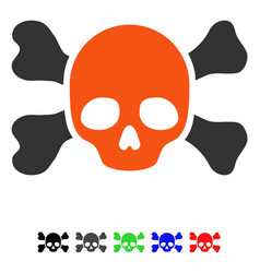 Skull and bones flat icon vector
