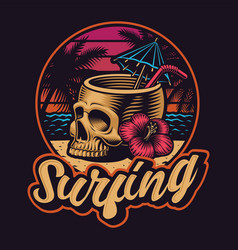 Skull with straw on summer theme vector