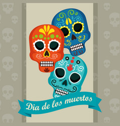 Skulls with ribbon to day of the dead event vector