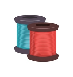 Spool of blue and red thread vector