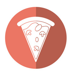 Tasty pizza slice shadow vector